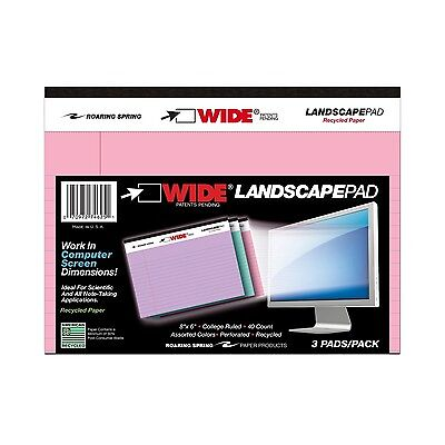 "LANDSCAPE PAD ASSORTED COLOR PAPER 3/PK 8""x6"" COLLEGE RULED"