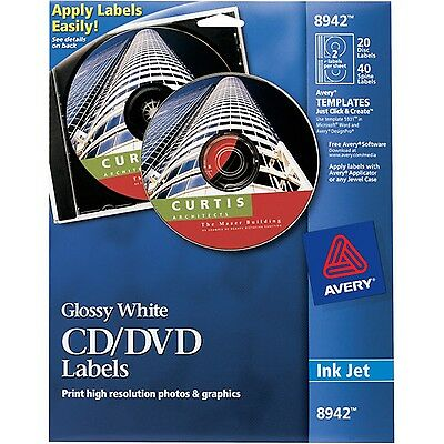 Avery Glossy White CD Labels for Inkjet Printers 8942 20 Disc Labels and 40 S...