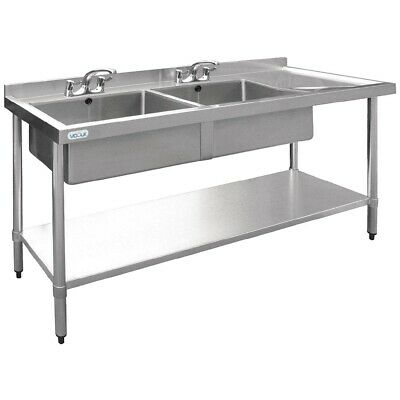 Vogue Double Bowl Sink Right Hand Drainer 1500mm BARGAIN