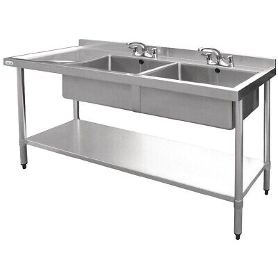 Vogue Double Bowl Sink Left Hand Drainer 1500mm BARGAIN