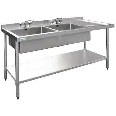 Vogue Stainless Steel Double Bowl Sink Right Hand 1800mm 90mm Drain BARGAIN