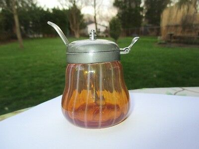 Victorian Pinstripe Peach Opalescent Cranberry Amberina Glass Mustard Pot Jar