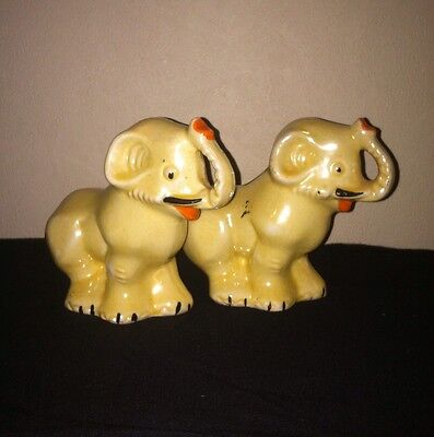 Lot of 2 Vtg Elephant Figurines Lucky Elephant Trunk Up Made In Brazil