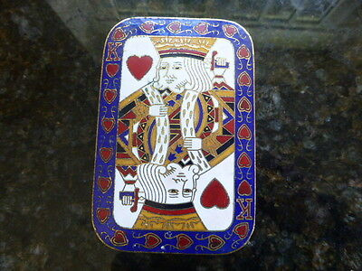 Unusual Chinese cloisonne enamel box and cover - card box King of Hearts design