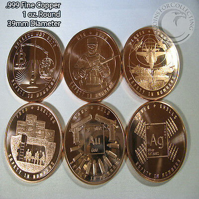 Safety in Numbers Series Copper Round Set 6 1 oz .999 Copper Rounds