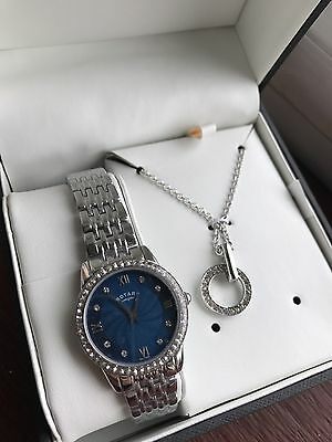 Beautiful New Rotary Blue Dial Stainless Steel Bracelet Ladies Watch & Necklace