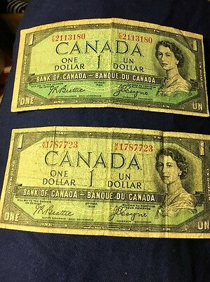2 different Canadian one 1 DOLLAR BILLS NOTES 1954 - Priced To Sell