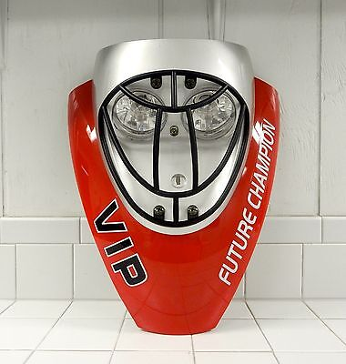 Taotao Vip 50Cc Front Headlight Plastic With Mask (Red/silver)