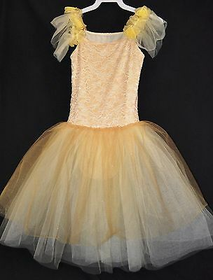 Girls Ivory/Gold Ballet Dance Costume Size Child XL by Curtain Calls