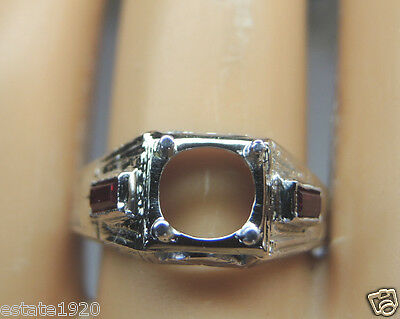 Antique Vintage Ring Setting 20K White Gold Hold 6.5MM Round Ring Size 6.75 UK-N
