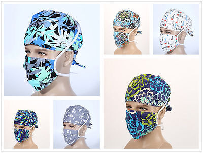 Men's Doctors Lots Pattern Printing Surgery Hat Surgical Scrub Cap+Medical Mask