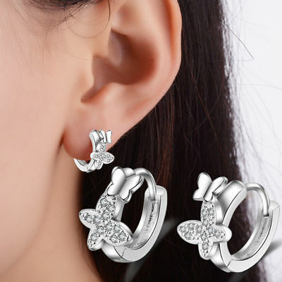 925 Sterling Silver Cute Rhinestone Crystal Butterfly Hoop Earrings For Women