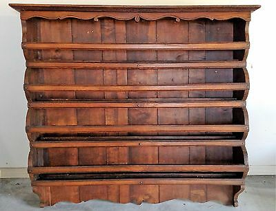 18Th Century French Hanging Wall Cupboard / Shelves With Plate Rails