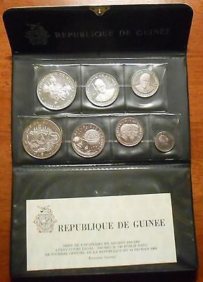 1969 Guinea 7 Coin Silver Proof Set, Scarce Limited Mintage Original Case W/coa