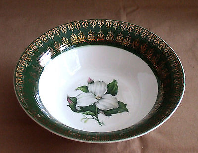"American Limoges Trillium Forest Green 8"" Round Vegetable Serving Bowl I-T S530"