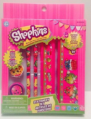SHOPKINS Deluxe 6 Piece Stationary Set + 1 Free Giant Scented Eraser