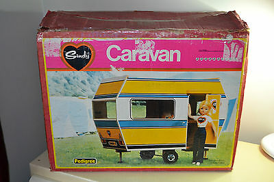 Vintage Sindy Pedigree Wooden Caravan 70s Rare Boxed doll furniture and clothes