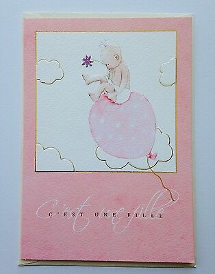 Pierre Belvedere French Greeting Cards - C'est Un Fille (It's A Girl)