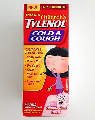 Childrens Tylenol Cold & Cough 6-11 Years 3.4oz / 100ml Bubble Gum