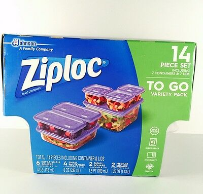 Ziploc To Go Variety Pack 14 Piece Food Storage - 7 Containers & 7 Lids 4 Sizes