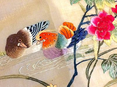 Vintage / Old Chinese Silk Stitch Panel ft. Ducks for Fidelity