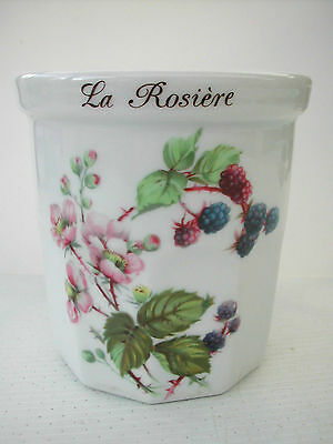 * POT A CONFITURE PORCELAINE  DECOR LA ROSIERE 9.5 cm