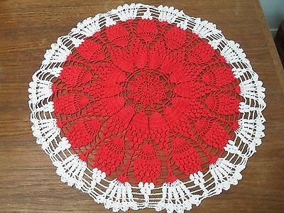 Vintage Hand Crocheted Doilie, Bright Red Pineapple with White Border, 21 inch