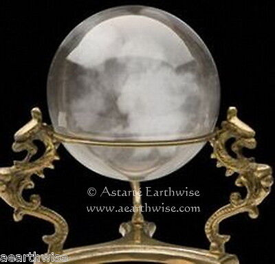 DRAGON BRASS CRYSTAL BALL STAND Wicca Witch Pagan Goth DIVINATION SCRYING