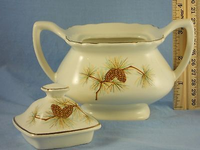 W.S. George PINE Pattern 58806-4C Covered Sugar Bowl Late 1950's