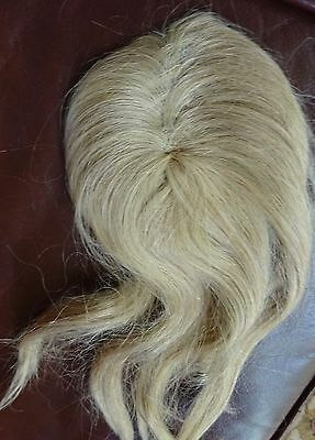 "Vintage Human Hair Doll Wig Size 11 Blonde Hair 12"" long"