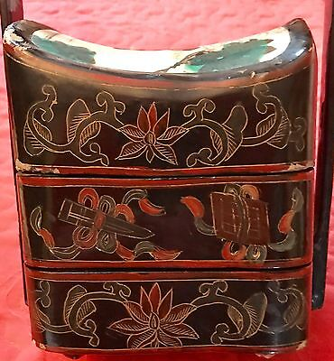 Antique Chinese Stackable Floral Wedding Dowry Basket Hand Painted Lacquer Box