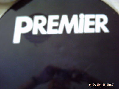 Premier type Medium size vinyl decal ONE COPY. (white lettering only )
