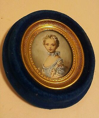 Mid century miniature original oil painting French or italian signed portrait