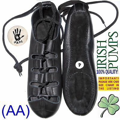 BRAND NEW! IRISH DANCE SHOES DANCING LEATHER COMFORT reel pumps jig ghillie (AA)