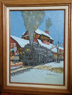 H. Hargrove Signed Oil Canvas Painting Train Depot Bristol w Frame