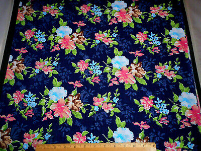 Floral Fabric 1 3/4 Yd Yard Pink Turquoise Brown Flowers on Navy Quilt Cotton #C