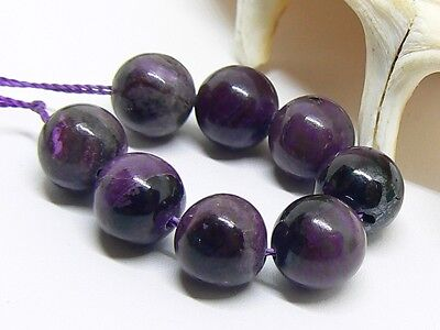 8 NATURAL UNTREATED AFRICAN PURPLE SUGILITE ROUND BEADS STRAND 8mm 31ctw