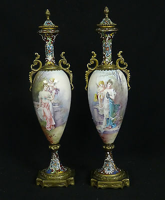 PAIR ANTIQUE 19c SIGNED DALY ORMOLU MOUNTED SEVRES STYLE PORCELAIN CHAMPLEVE URN
