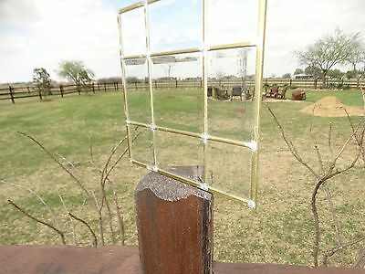 """17829 Vintage Leaded Clear Beveled Glass Panel (unframed) ~ Size  11"""" x 11"""""""