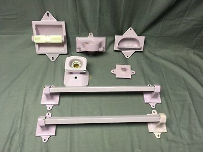 Vtg Lavender Porcelain Fixtures Sconce Towel Bars Toilet Paper Holder  221-17E