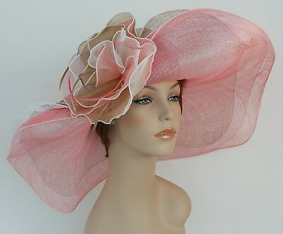 New Woman Church Derby Wedding Sinamay 3 Layers Dress Hat 2397 White Multicolor