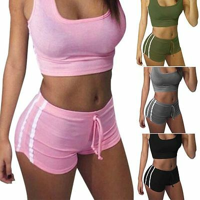 Women Sports Tracksuits Set Crop Tops Vests Shorts Female Gym Fitness Outfits