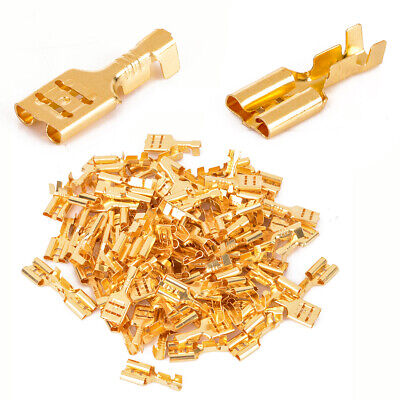 100 Pcs 6.3mm Gold Brass Car Speaker Female Spade Terminal Wire Connector
