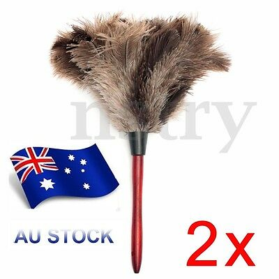 2x Anti-static Duster Ostrich Feather Fur Brush Dust Cleaner Cleaning Tool AU