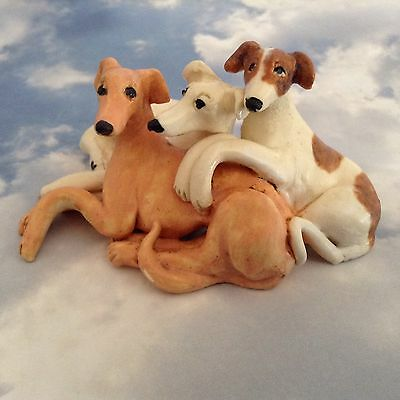 Three Whippet Greyhound Dogs Cuddled Porcelian Studio Pottery Figurine Handmade