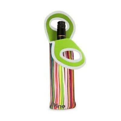 Go Vino Insulated Single Wine Bottle Tote Bag Strips