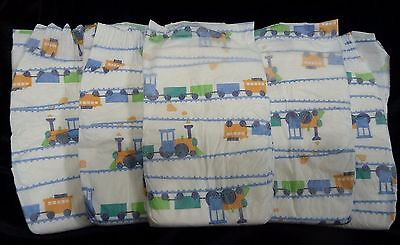 The Honest Company, Trains  print diapers for Reborn or baby doll, set of 5