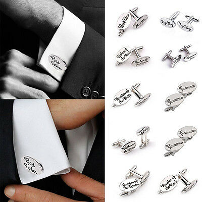 2PCS Silver Plated Mens Wedding Cufflinks Sets Cuff Links Personalised Groom Man