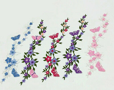 Flowers Butterfly Patch Sew/Iron-On Applique Embroidered Motif Garment Decor DIY