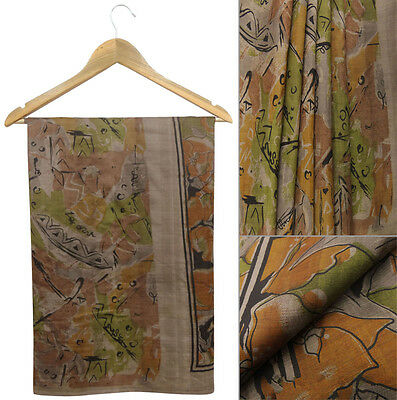 Vintage Printed 100% Pure Silk Saree Grey Dress Making Sari Used Antique Fabric